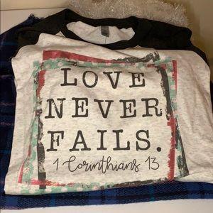 Tops - Love Never Fails 3/4 sleeve t-shirt